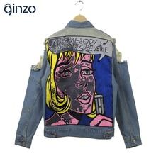 Women's vintage holes ripped beauty print pattern denim jacket Casual loose full sleeve coat