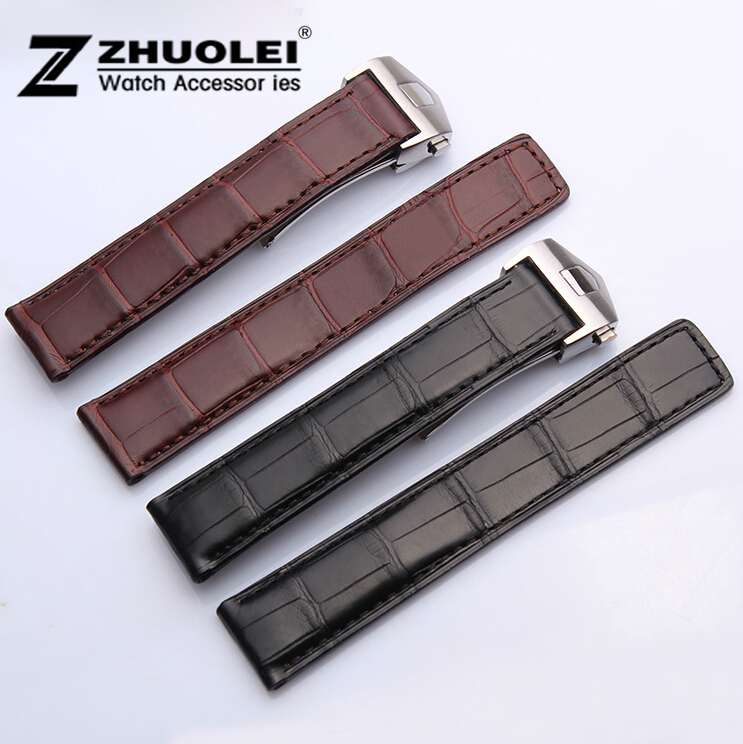 цены NEW high quality 20mm Black Genuine Alligator Croco Leather Strap Watch Band Silver Depolyment Buckle Clasp For BRAND
