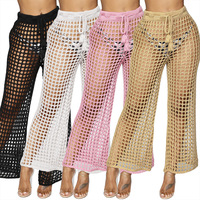 LXUNYI Sexy Boho Crochet Pants Beach Hollow Out Elastic Wasit Drawstring Knitted Pants Women Ankle Length Straight Trousers Lady