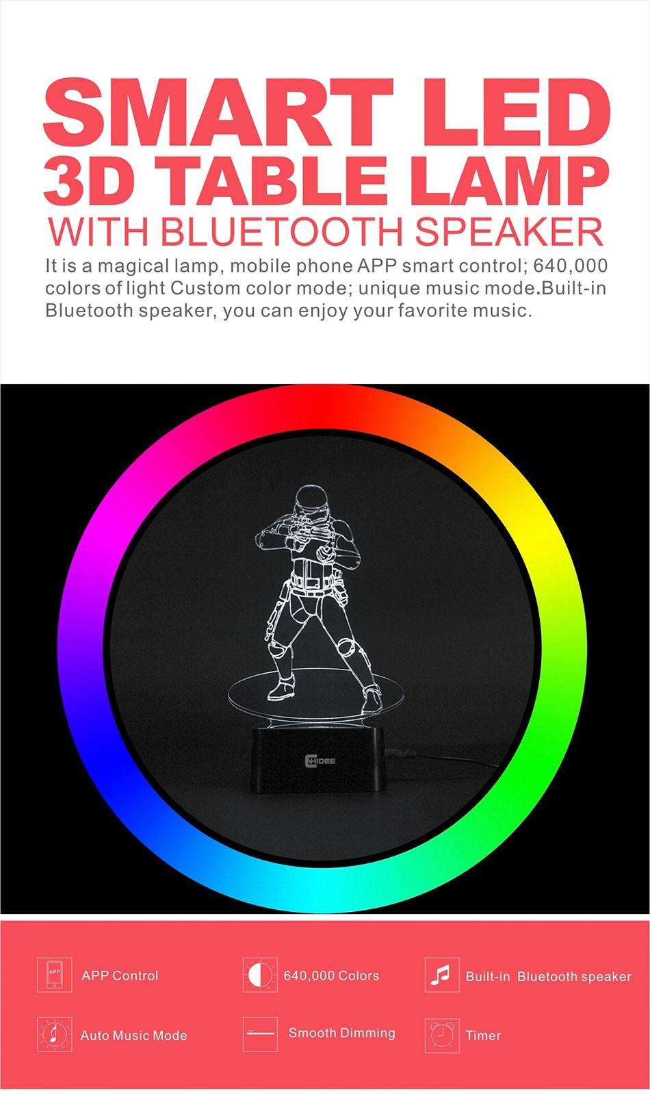 CNHIDEE USB Novelty Star Wars Bluetooth Music Desk Lampara 3D Stormtrooper Bulbing Led Luz de Noche Engraving Night Light Decor as Creative Gifs  (1)
