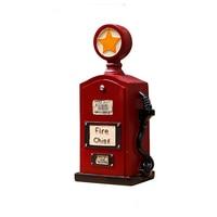 Retro Fire Chef Tanker Decoration Money Box Ornament Red England Retro Tanker Piggy Bank Furniture Craft Window Decor Child Gift