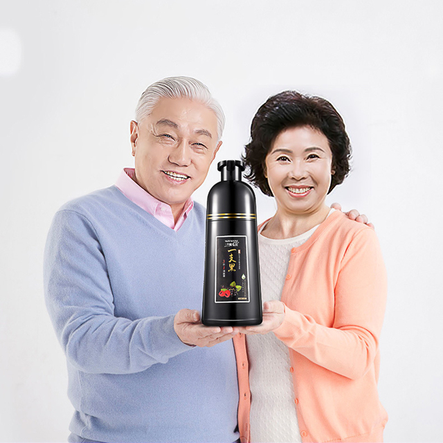 Chinese Medicine Formula Semi-permanent Black Hair Shampoo Fast Coloring Shampoo