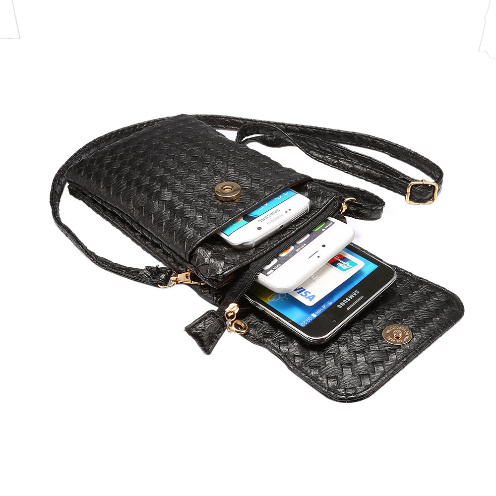 KSQ Universal Stripe Woven Material Shoulder Oblique Cross Package Multifunctional 6.0 Mobile Phone Bag Hanging Neck Wallet Bag