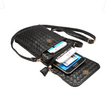KSQ Universal Stripe Woven Material Shoulder Oblique Cross Package Multifunctional 6.0″ Mobile Phone Bag Hanging Neck Wallet Bag