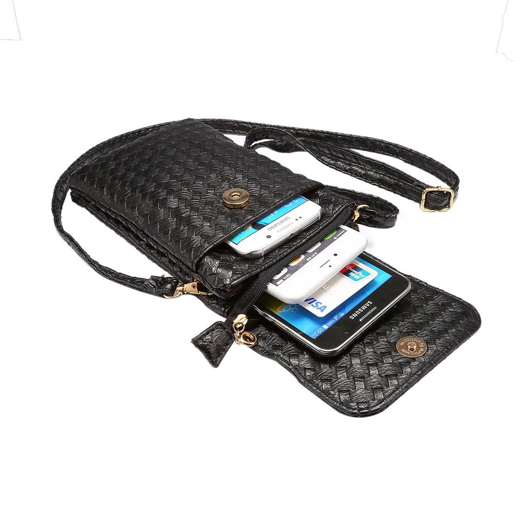KSQ Universal Stripe Woven Material Shoulder Oblique Cross Package Multifunctional 6.0 Mobile Phone Bag Hanging Neck Wallet Bag