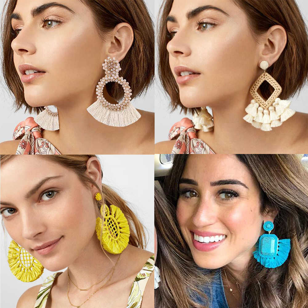 Best Lady Trendy Long Tassel Earrings for Women 5 Styles Hot Boho Ethnic Dangle Jewelry Fringed Drop Earrings Wedding Party Gift
