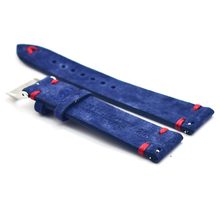ONTHELEVEL handmade suede strap with Quick release navy blue 18 20 22mm red / white stitching unisex replacement wristbands 2019