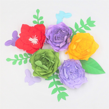 2018 Giant Crepe Paper Flowers 5PCS+Leaves 5PCS+Butterflies 3PCS For Wedding & Event Backdrop Baby Nursery Decor Home Decoration