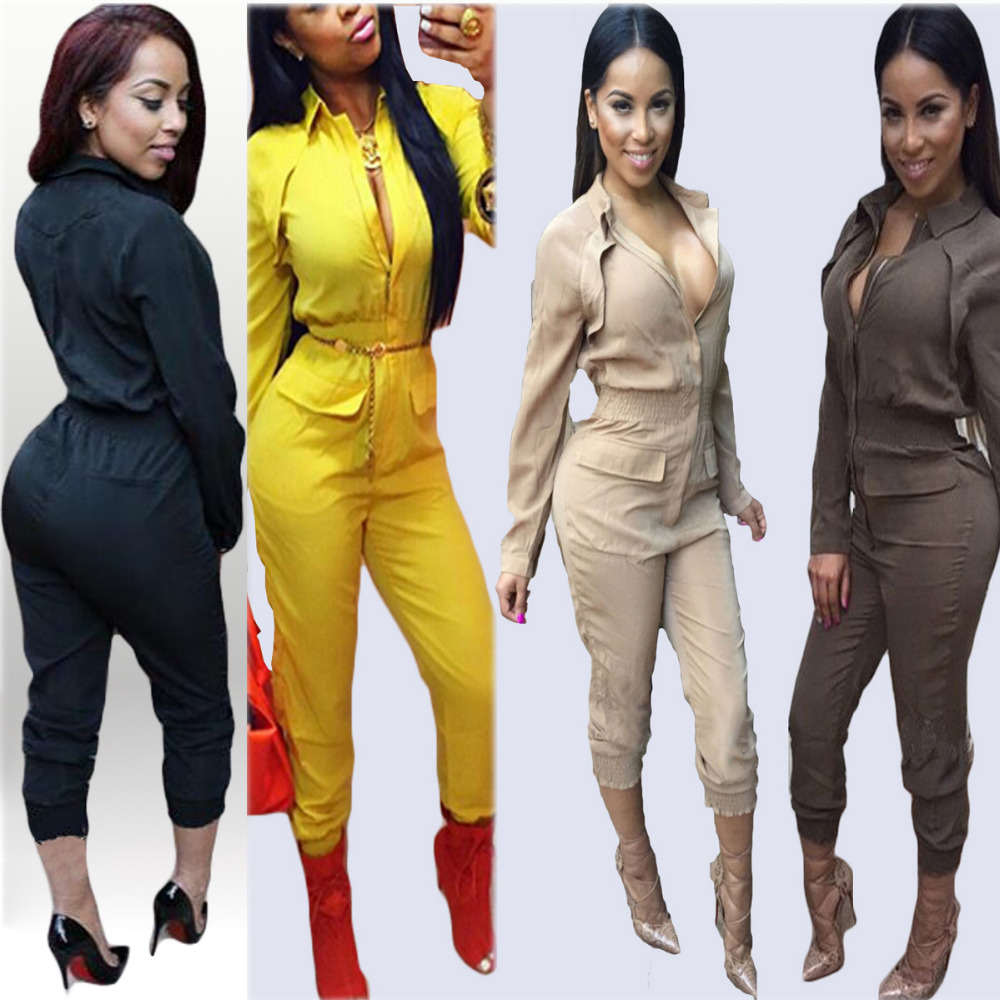 Sexy One Piece Outfits Black Red Rompers Women Long Sleeve Front Zipper Jumpsuit Long Pants Casual Bodysuit Plus Size S-XL
