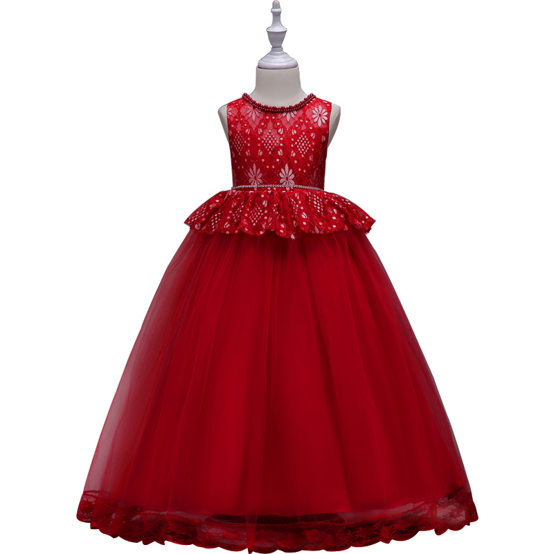 Kids Girls Flower Dress Baby Girl Red Birthday Party Dresses Children  Princess Ball Gown Wedding Clothes Long Dresses for Teens kids tutu dress girl flower dress 2016 summer girls party dresses with gloves fashion dance dress kids girls clothes ball gown