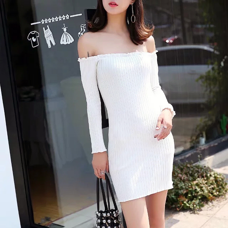 a5d835f5d49d Women Off The Shoulder Frill Trim Bodycon Mini Dress Slash Neck Ribbed  Bodycon Dress-in Dresses from Women s Clothing on Aliexpress.com