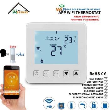 Echo Alexa Voice Switch bezprzewodowy termostat WIFI kocioł gazowy i pasywny kontakt regulacja temperatury zawór termostatyczny tanie i dobre opinie HESSWAY REGULATOR TEMPERATURY CN (pochodzenie) S(B)08WW-4 49 ° C i Pod DIGITAL Indoor Ładowarka Wbudowane 2 0 - 3 9 cala