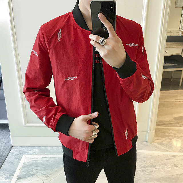 Korean Men Jackets Fashion 2018 Spring Casual Bomber Jacket Men