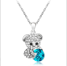 2016 Fine Crystal Cartoon Cute Bear Necklaces Pendants Long Sweater Chain Necklaces for Women and Men Free Shipping