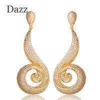 Dazz Độc Đáo Xoắn Ốc Thiết Kế Thả Bông Tai Đối Với Phụ Nữ Engagement Trang Sức Cưới Khối Lớn Zircon Copper Dangle Earrings Aretes