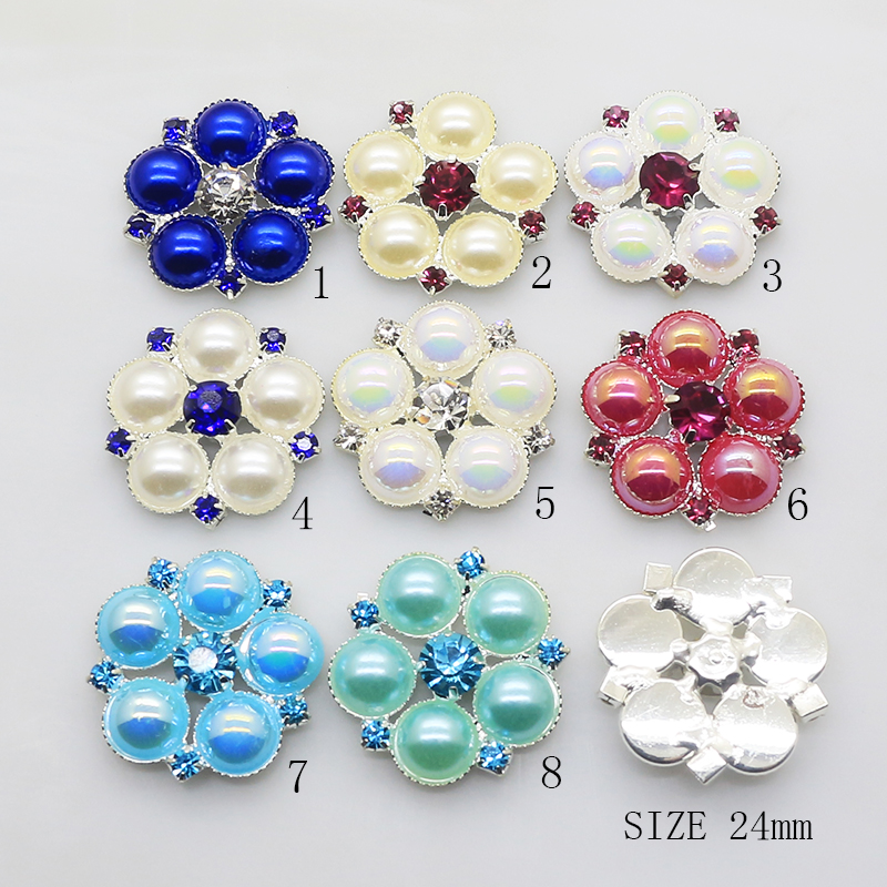 10pcs/set 24mm Flower Rhinestone Button For Clothes Pearl Metal Button For Wedding Hair DIY Accessories Decorative For Button