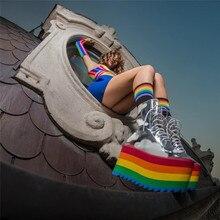 Rainbow bottom high heels sandals transparent shoes PU27