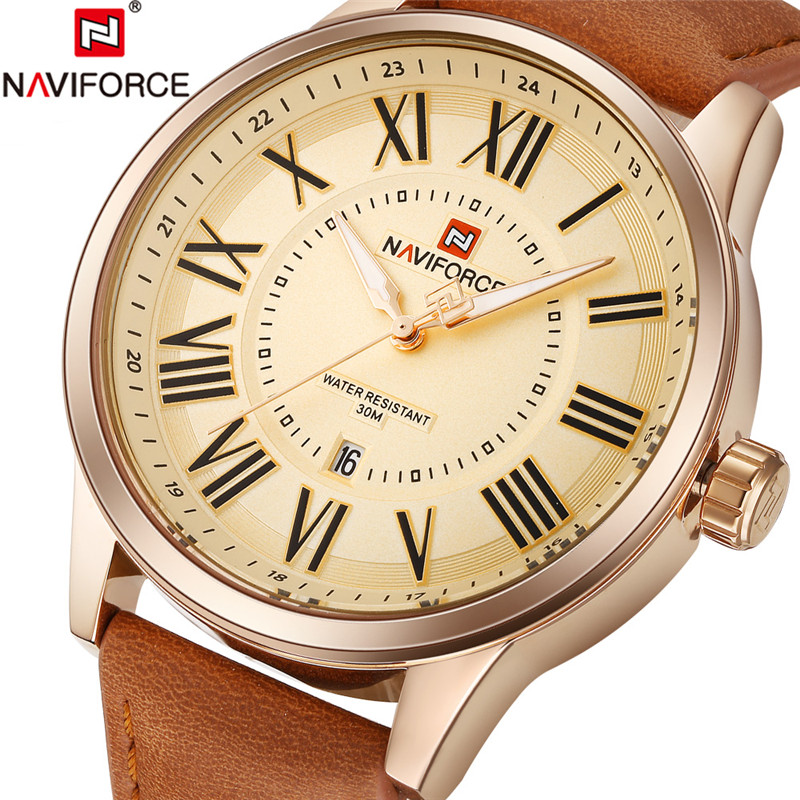 NAVIFORCE Men Watch Military Sport Mens Watches Top Brand Luxury Rome Army Business Date Leather Band Quartz Male Clock New 9126 naviforce men watch date week sport mens watches top brand luxury military army business rubber strap quartz male clock new 9123