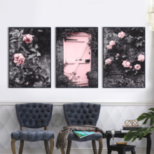 Pink Rose Flower Courtyard Door Landscape Wall Art Canvas Painting Nordic Posters And Prints Pictures For Living Room Decor