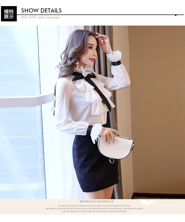 New Women Blouse Tops white Ruffles Bow Long Sleeve Shirt Casual Chiffon Blouse 2020 New Work Wear Office Blusas Femininas 570A