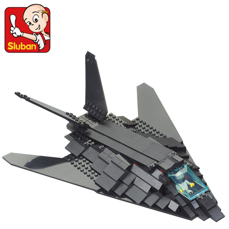 Sluban model building kits compatible with lego city Stealth bomber plane 456 3D blocks Educational toys hobbies for children