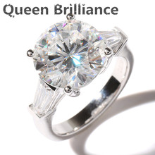 Queen Brilliance Luxury 5 Carat ct F Color Engagement Wedding Moissanite Diamond Ring Genuine 14K 585 White Gold For Women