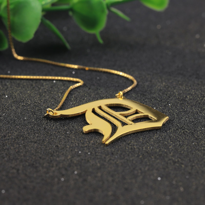 Personalized Old English Font Necklace Box Chain Golden Customized