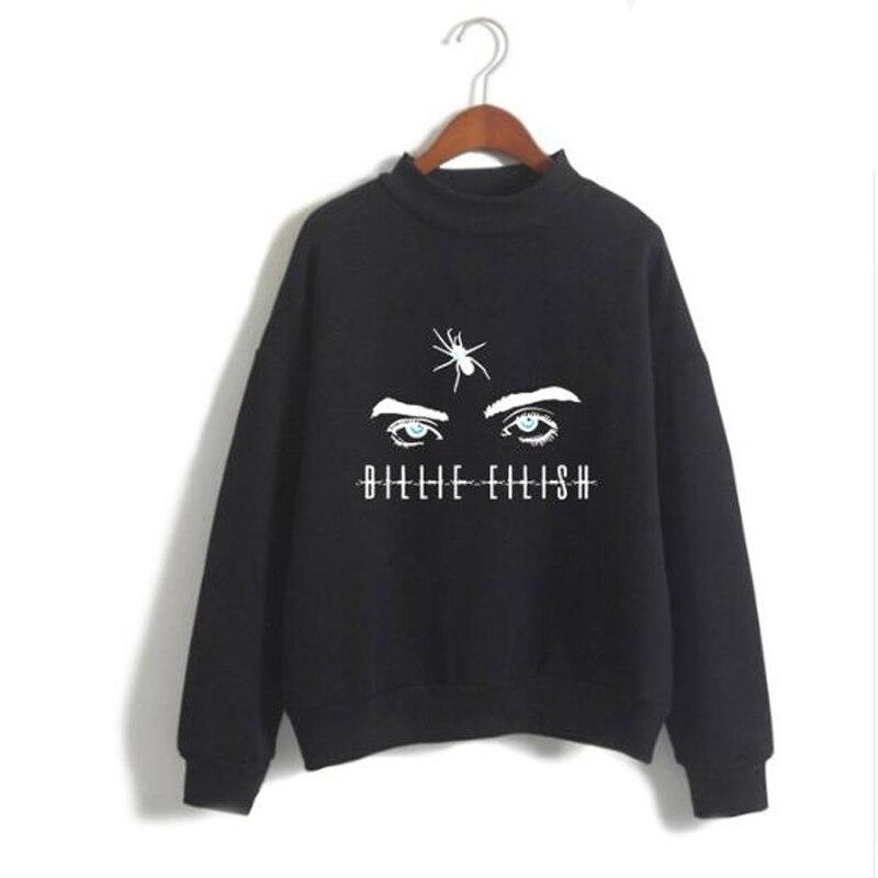 Women's Hoodie Long Sleeve Fleece Turtleneck Sweatshirt 2019 Billie Eilish Fan Eye Oversized Hoodies Streetwear Poleron Mujer