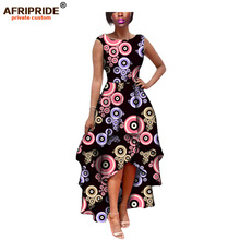 Купить с кэшбэком 2019 hot sale african dress for women AFRIPRIDE private custom sleeveless pleated party dress 100% pure wax cotton A722582