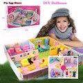 Поделки кукольный домик миниатюре Большой Кукольный дом мебели аксессуары освещение пластиковые кухня Семья мама Малыша куклы подарок для девочек