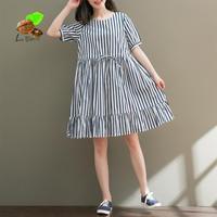2018 New Girls School Summer Spring 100 Cotton Stripe Elasitic Waist Dresses Women S Ruffle Short