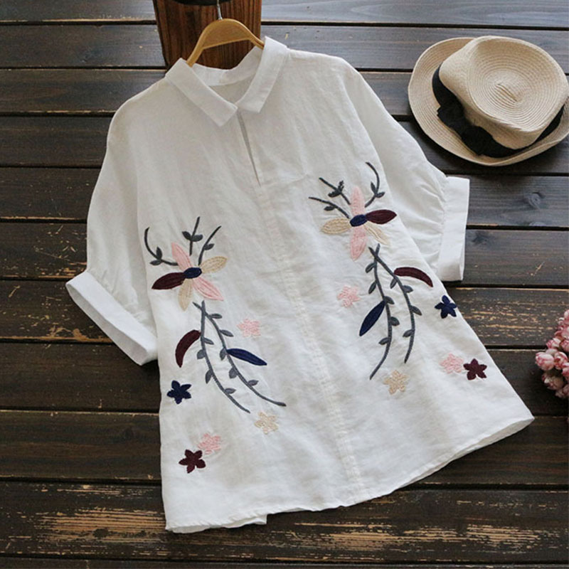 Summer Vintage Floral Embroidery Shirt Women's Turn Down Collar Cotton And Linen Short Sleeved Retro Blouses Blusa Tops U655
