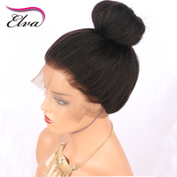 Elva Hair Italian Yaki Straight Lace Front Wig Brazilian Remy Human Hair Lace Wigs For Black
