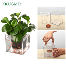 Creative Transparent Flower Pot Automatic Water Absorption Irrigation Hydroponic Plastic Desktop Square Fish Tank