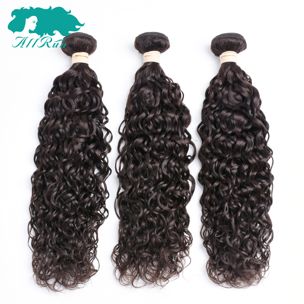 Allrun Pre-Colored Peruvian Water Wave 2# Dark Brown 3 Bundles /Lot Non Remy Human Hair Extensions 8-26