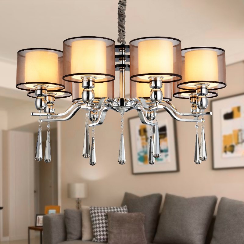Modern Crystal Chandelier Lighting Fixture Exquisite Fabric Shade 3/4/6/8/12 Heads Chrome Chandeliers Lustre Cristal Lamp Avize