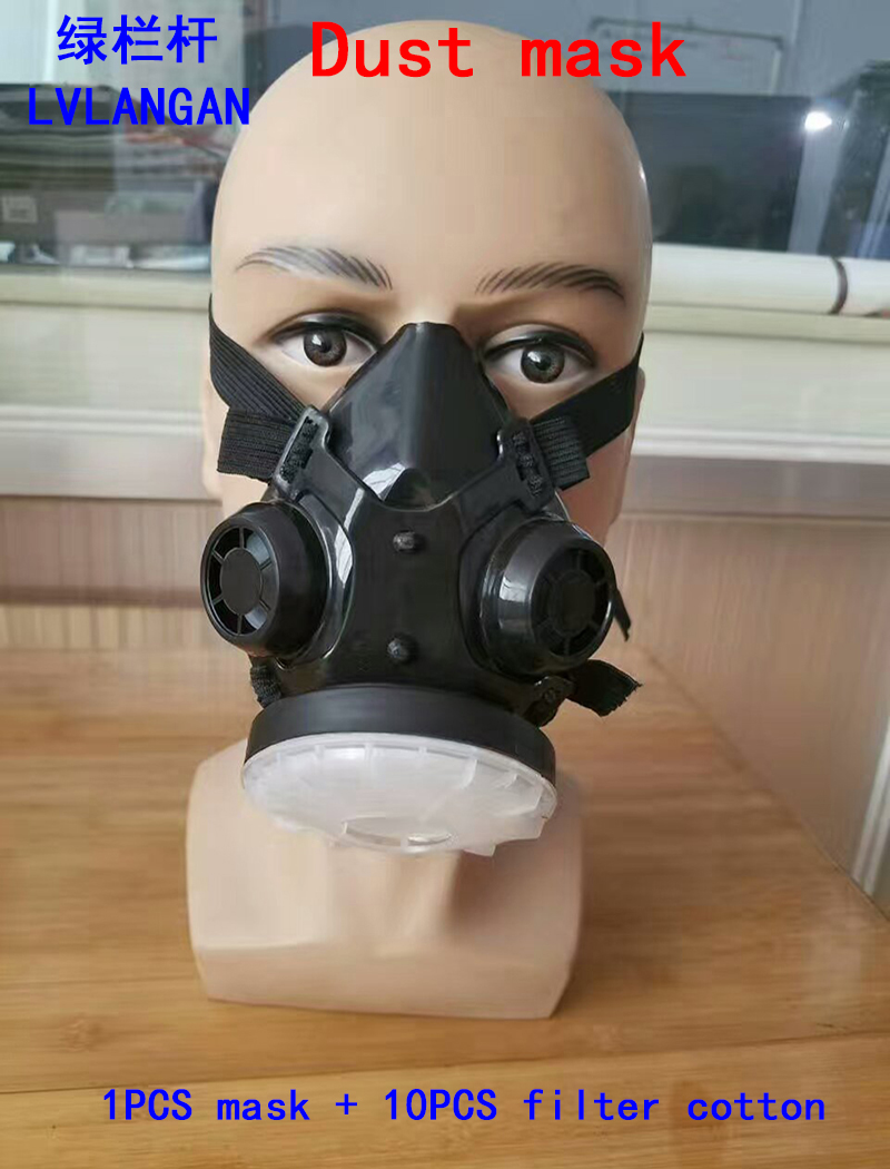 high quality respirator dust mask 1006 type rubber respirator mask against dust smoke particulates filter mask Send 10 filters silicone abs dust filter respirator mask dark grey