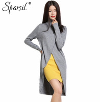 Sparsil Women S Autumn Turtleneck Pullover Cashmere Knitted Dresses Fashion Custom Fit Irregular Knitwear Long Skirts