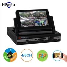 """CCTV 4ch 8CH 1080N Grabador de Vídeo Digital con 7 """"Pantalla LCD Híbrido DVR HVR NVR Sistema de Seguridad Casero hiseeu"""