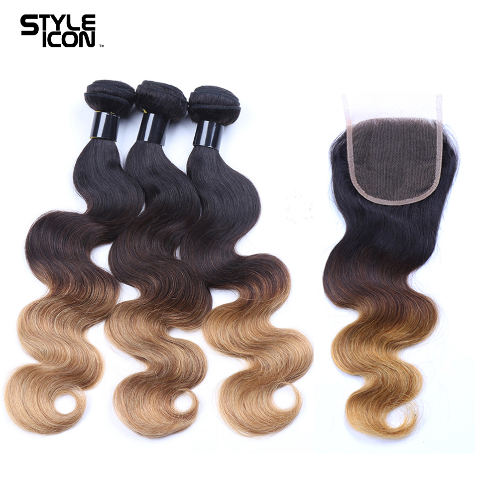 Styleicon Pre-Colored Ombre Human Hair Weave Brazilian Body Wave 3 Bundles With Closure Ombre Bundles With Closure T1B/4/27