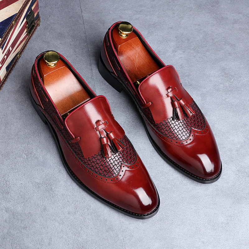 2019 Newest Men Tassel Loafers Italian Dress Shoes Casual Loafer for Men Slip-on Wedding Party Shoes Male Designer Leather Shoes image