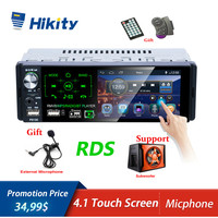 Hikity Autoradio RDS Car Radio Bluetooth 1 din Radio Car 4.1 Inch Touch Screen Multimedia MP5 Player Support Micphone and Camera