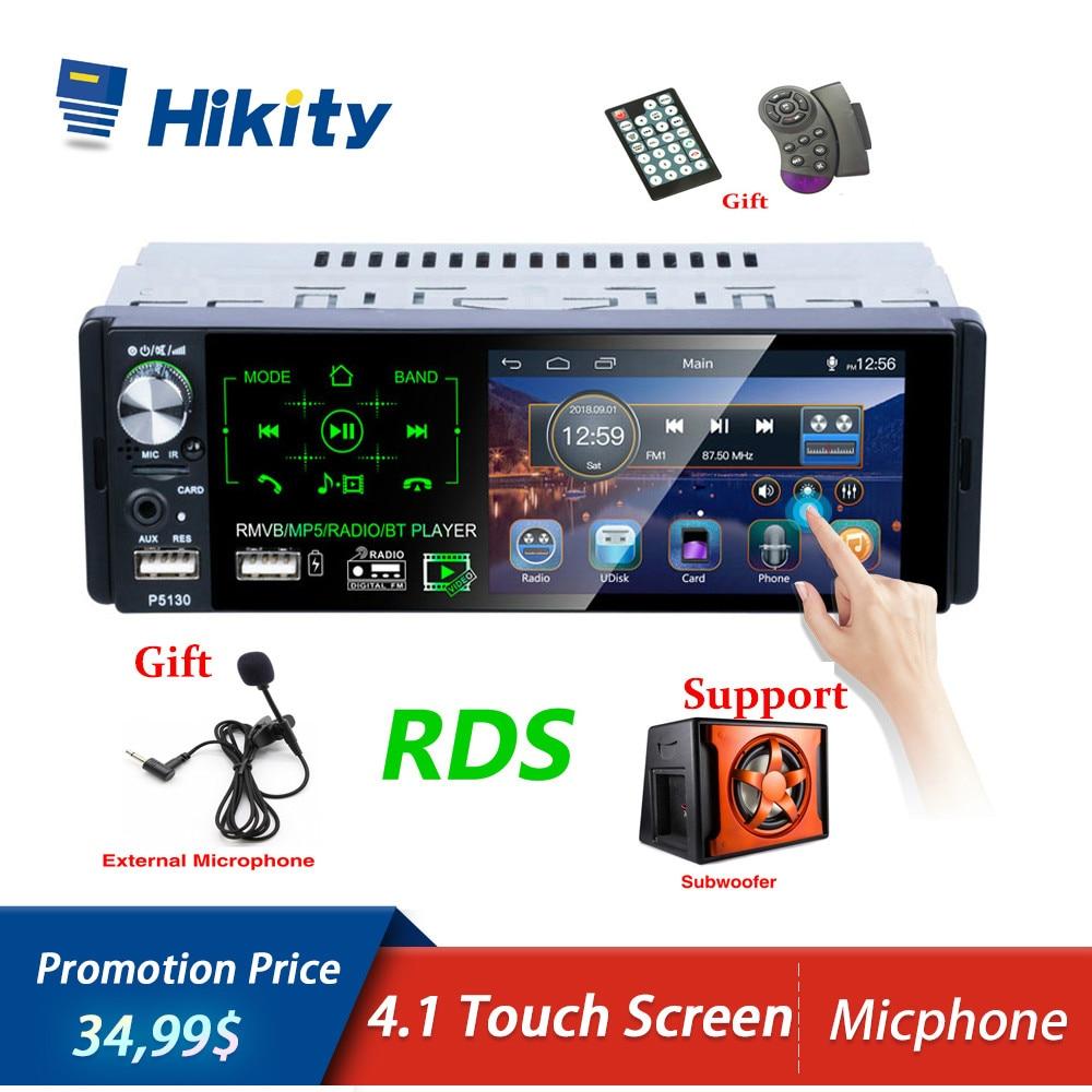 Hikity Autoradio RDS Bluetooth 1 Autoradio din 4.1 pouces écran tactile multimédia MP5 lecteur Support Micphone et caméra