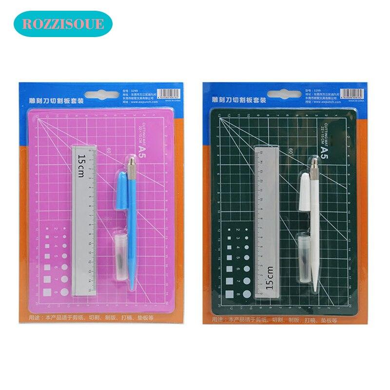 A5 PVC Cutting Mat Set Cutting Pad Patchwork Cut Pad Tools Manual DIY Tool Cutting Board Double-sided Self-healing Tapete Corte