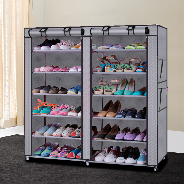 6 Row 2 Line Non-woven Fabric Shoe Rack Gray Coffee Simple Furniture multi-functional Shoe Storage Cabinets folding dust shoe