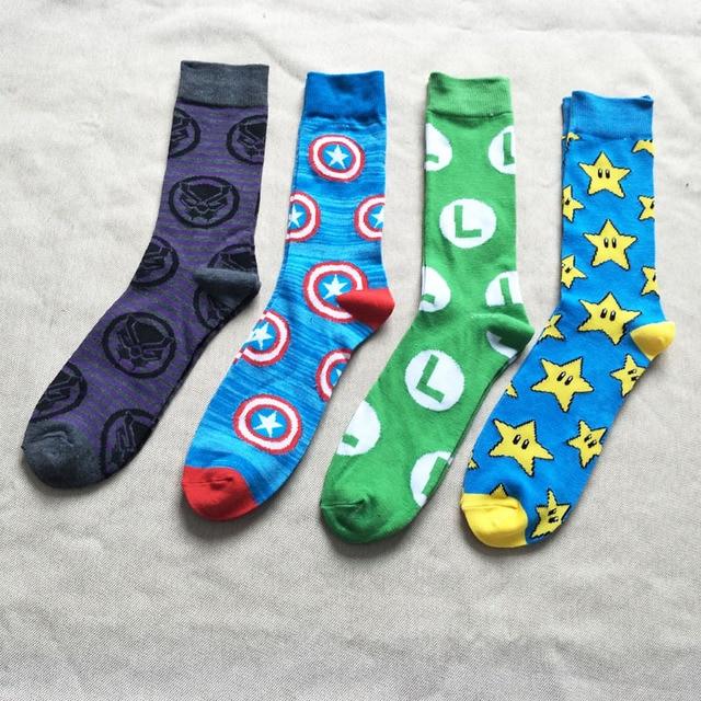 Maravilha Lanterna Verde meias Pantera Negra Vingadores Capitão América engraçado da novidade homens confortáveis de algodão sock Calcetines hombre