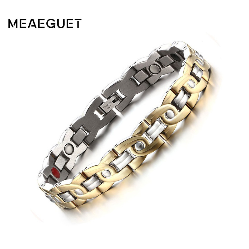 Meaeguet 10mm Magnetic Therapy Bracelet For Men Jewelry Pain Relief Arthritis Stainless Steel Health Energy Jewelry Adjustable