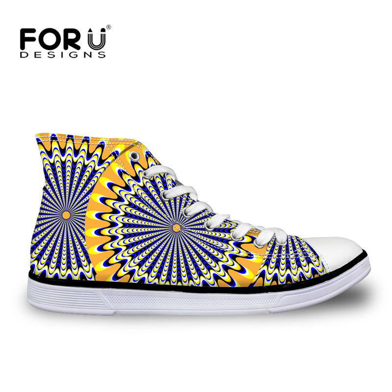 FORUDESIGNS African Traditional Print High Top Canvas Shoes Fashion Women Vulcanize Shoes Ladies Girls Classic Lace Up Sneakers eyelet lace botanical print top