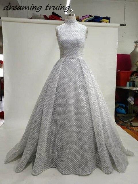 077fbe28795 Elegant High Neck Grey Evening Dresses Long Close Back Off Shoulder Bling  Ladies Evening Dress Robe De Soiree Longue 2018