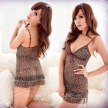 New Sexy Spandex Leopard lingerie Dress babydoll + panty 8183